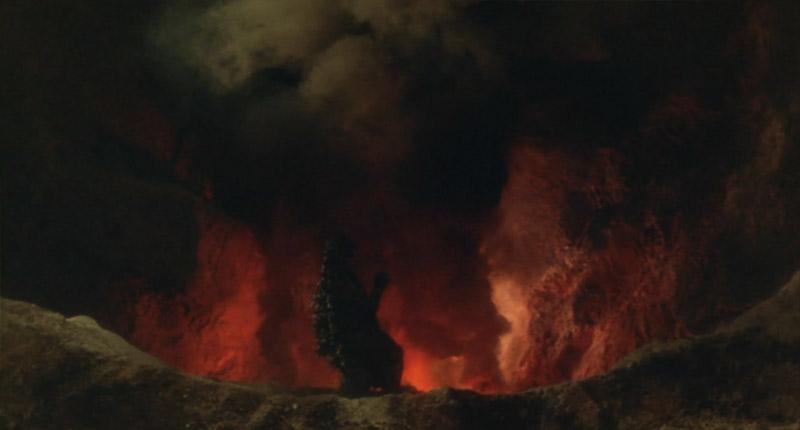 三原山火口に落ちるゴジラ2